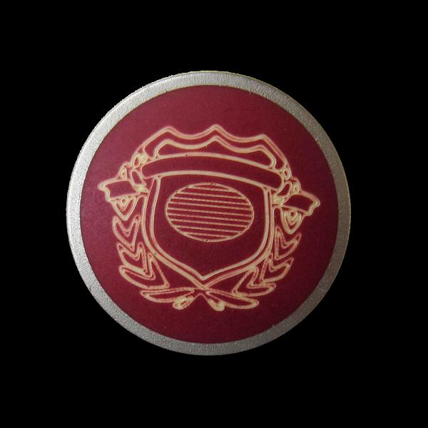 Rot silberfb. Metall Knopf mit naturweißem Wappen