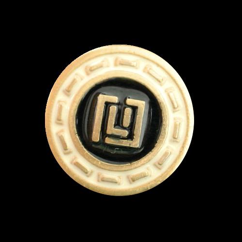 Schwarz-creme-goldfarbener Metallknopf