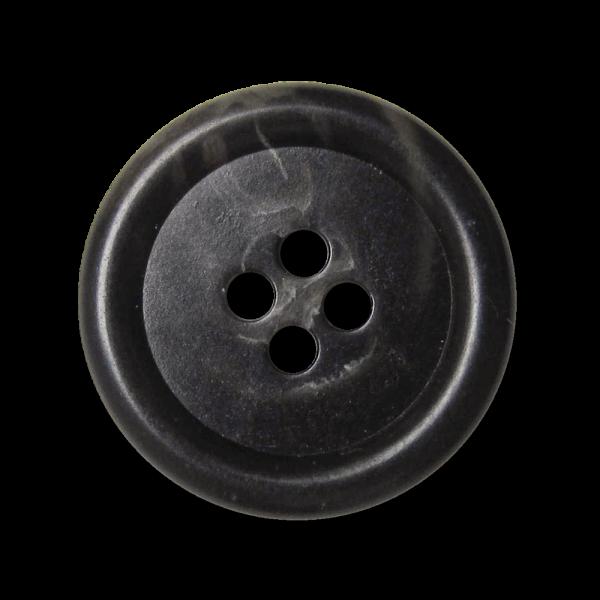 Schlichter schwarz melierter Vierloch Basic Knopf