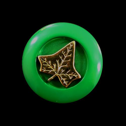 Grüner Knopf mit goldenem Efeu-Blatt
