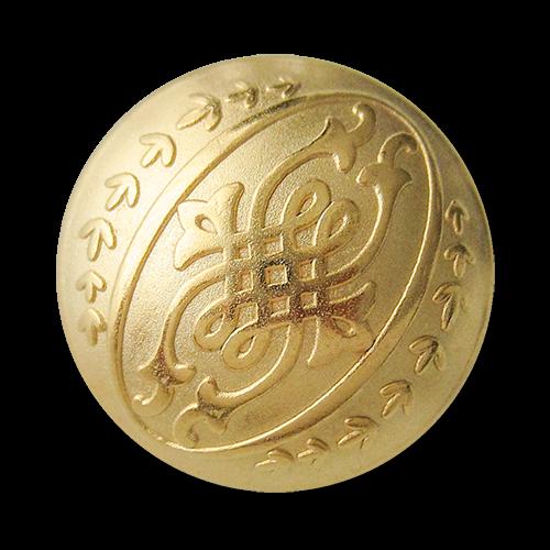 www.knopfparadies.de - 0599gh - Umwerfend schöne Metallknöpfe in matt gold mit edlem Muster