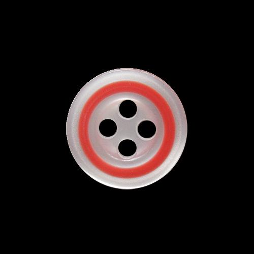 www.knopfparadies.de - 5931hr - Weiß schimmernde Blusenknöpfe mit hell rotem Rand