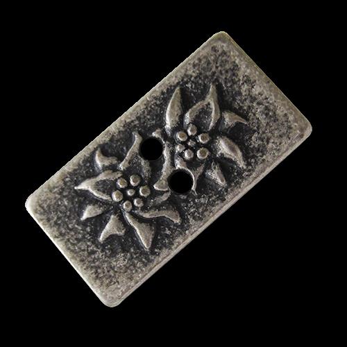 www.Knopfparadies.de - 1516as - Rechteckige Metall Applikationen oder Knöpfe mit Edelweiß