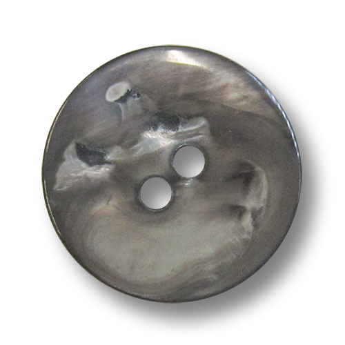 www.knopfparadies.de - pm310gr - Grau-braun schillernde Perlmuttknöpfe mit zwei Löchern und schlichter Form