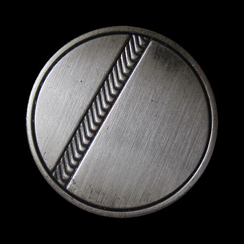 www.knopfparadies.de - 1504ei - Matt eisenfarbene Ösen Metallknöpfe mit Zierband