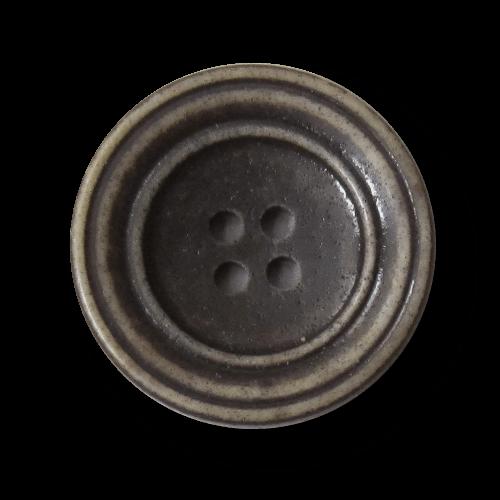 Tellerförmiger brauner Vierloch Kunststoff Knopf