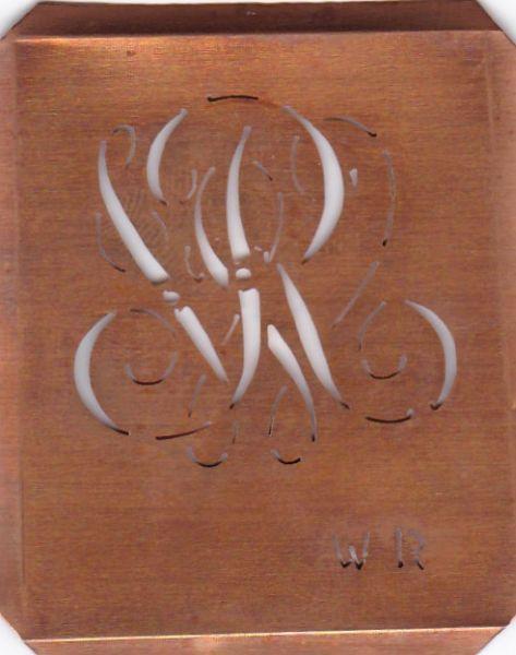 Alte Wäscheschablone, Stickschablone mit Initialen WR