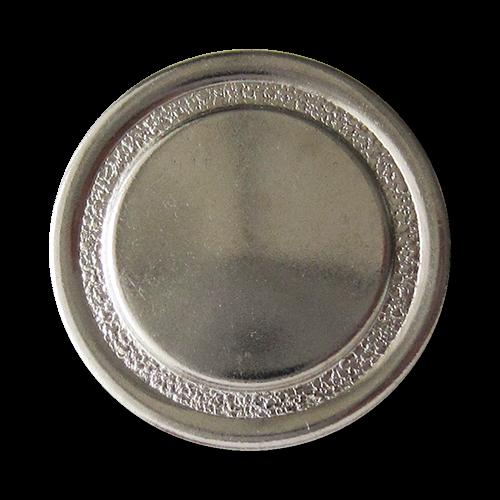 www.Knopfparadies.de - 1638si - Silberne Ösenknöpfe aus Metallblech mit diamantiertem Ring