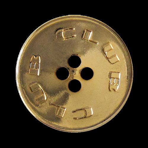 """www.Knopfparadies.de - 3088go - Sportliche goldene Vierloch Metallknöpfe """"CLUB"""""""