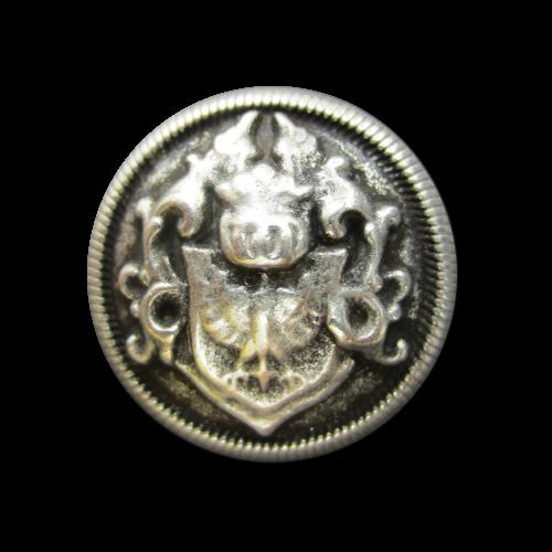 Altsilberfb. Wappen Knopf mit Adler und Ritterhelm