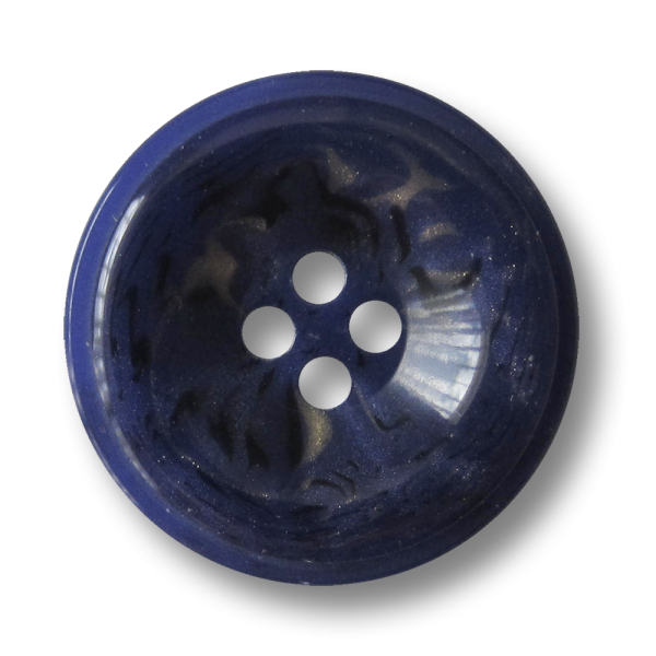 Blau melierter Kunststoff Knopf mit vier Knopflöchern wie Lapislazuli