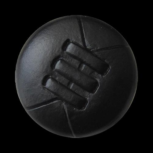 www.Knopfparadies.de - 5844sc - Interessante schwarze Lederknöpfe mit Metall-Öse