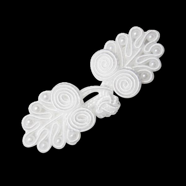 Bildschöner weißer Posamenten Verschluss mit Perlen