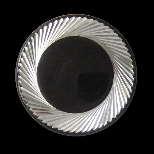 www.knopfparadies.de - 5745ss - Schwarze Metallknöpfe mit silber schraffiertem Rand