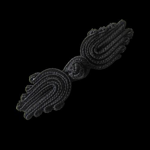 www.Knopfparadies.de - 1549sc - Edle schwarze Posamentenverschlüsse in Tulpen Form