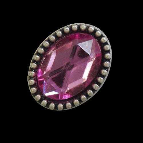 www.knopfparadies.de - 1697dr - Ovale, majestätische Metallknöpfe mit pinkem Glitzerstein