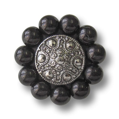 Opulente schwarz silberne Kunststoffknöpfe in Metalloptik