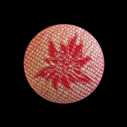 Leichte gewölbte rot-naturfarbene Trachtenknöpfe mit Edelweissmotiv