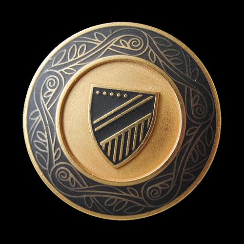 www.Knopfparadies.de - 5549dg - Edle blau goldene Wappenknöpfe aus Metall mit Zierband