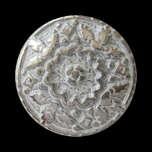 www.Knopfparadies.de - 0495sw - Weiß silberne Metallknöpfe mit üppiger Verzierung