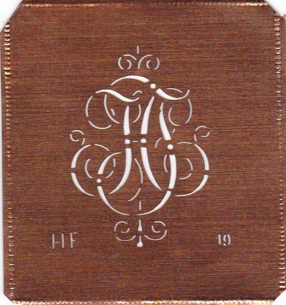 www.knopfparadies.de HF-sch-019 - Kupferschablone, Monogrammschablone Stickschabone HF