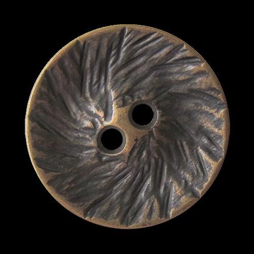 www.Knopfparadies.de - 1625me - Originelle altmessingfarbene Zweiloch Metallknöpfe mit strukturierter Oberfläche