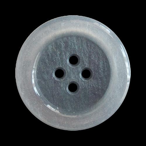 www.Knopfparadies.de - 5899bl - Blau graue Kunststoffknöpfe in Perlmutt Optik