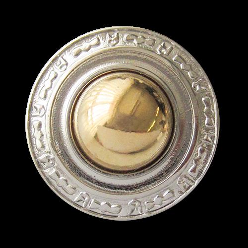 www.Knopfparadies.de - 3623bi - Bildschöne Ösenknöpfe aus Metall in silber goldener Bicoloroptik