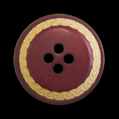 www.knopfparadies.de - 5094ro - Dunkelrote Kunststoffknöpfe mit abgesetztem, beigen Rand