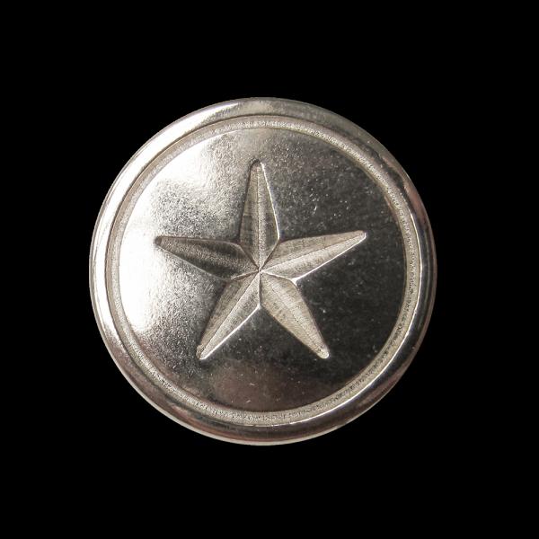 Klassischer silberfarb. Metall Knopf mit Relief Stern