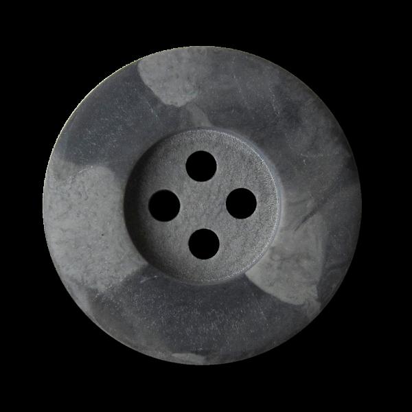 Dunkelgrau marmorierter Vierloch Kunststoff Knopf