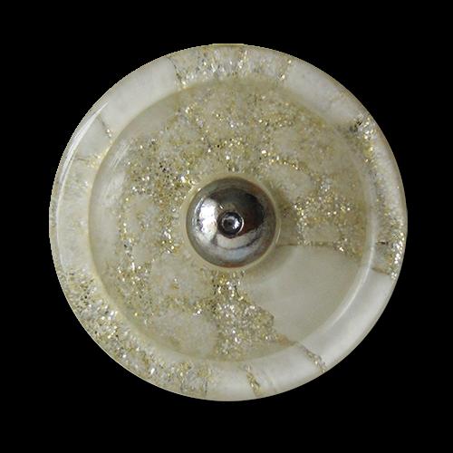 www.knopfparadies.de - 1681si - Günstige Kunststoffknöpfe, glitzernd mit Metallöse