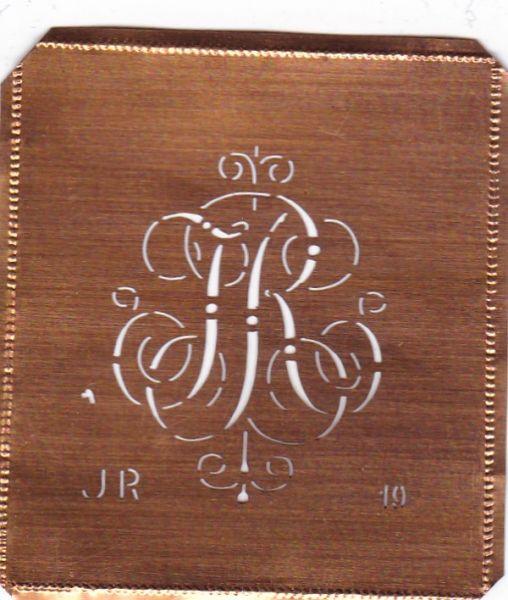 www.knopfparadies.de JR-sch-019 - Kupferschablone, Monogrammschablone Stickschabone JR