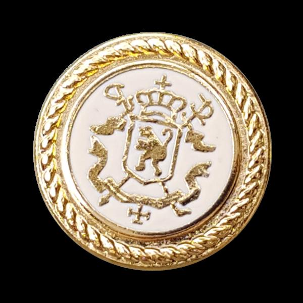 Vornehmer naturweiß goldfarbener Wappen Metall Knopf