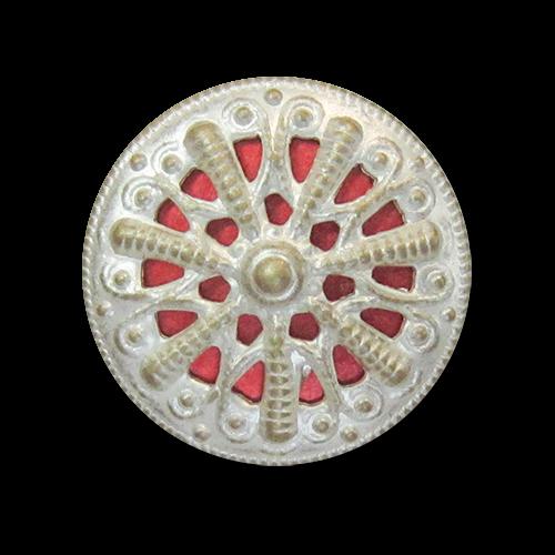 www.Knopfparadies.de - 5298ro - Elegante Metallblechknöpfe mit Durchbruch in Messing, Silber & Rot