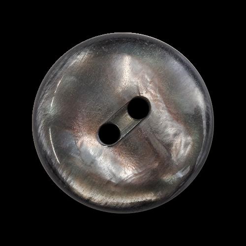 www.knopfparadies.de - 6191dg - Dunkelgrau schimmernde Mantelknöpfe aus Kunststoff