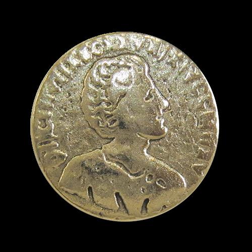 www.Knopfparadies.de - r093go - Älter wirkende Münzknöpfe aus Metall in Gold