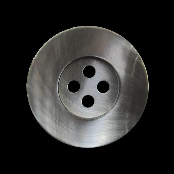 www.Knopfparadies.de - 5563pm - Günstigere graue Perlmuttknöpfe mit vier Knopflöchern