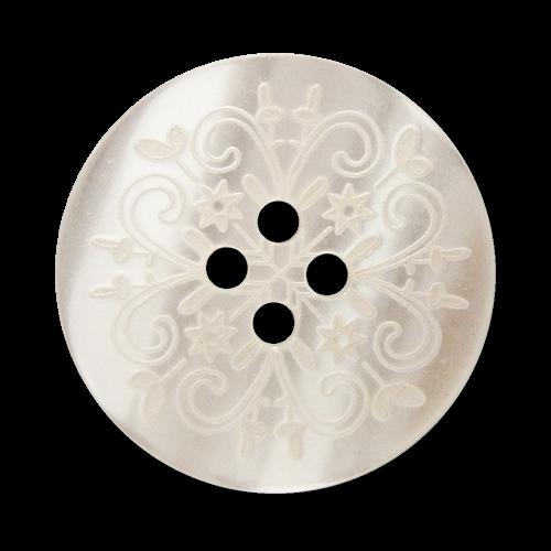 www.Knopfparadies.de - 1667we - Weiß gemusterte Vierloch Kunststoffknöpfe mit Perlmutt Schimmer