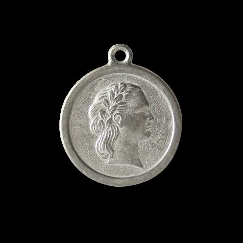 www.Knopfparadies.de - 2678zi - Antik wirkender zinnfarbener Metallanhänger mit Frauen Relief
