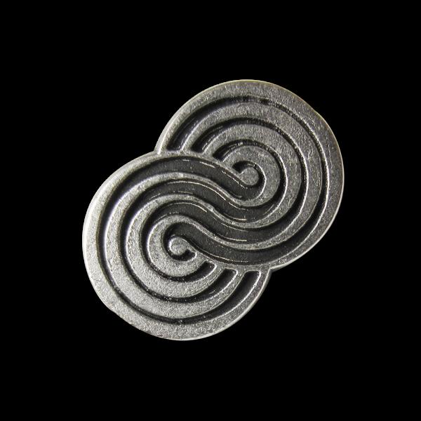 Ausgefallener kleiner altsilberfarbener Metall Knopf