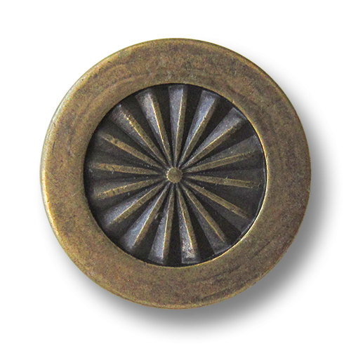 www.Knopfparadies.de - 5945am - Elegante Ösenknöpfe aus Metall in Altmessing mit Vintage-Effekt