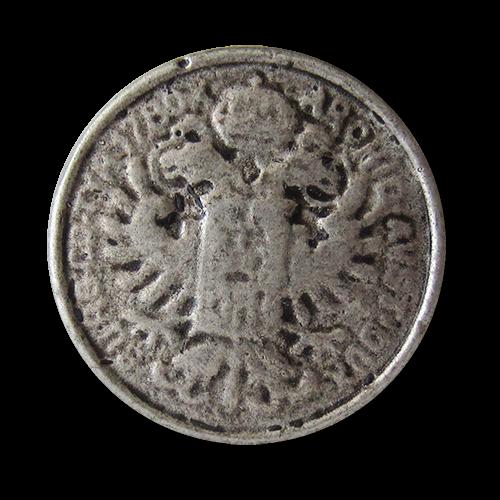 www.Knopfparadies.de - j087as - Große Metallknöpfe mit Münz Motiv: Doppelkopfadler und Krone