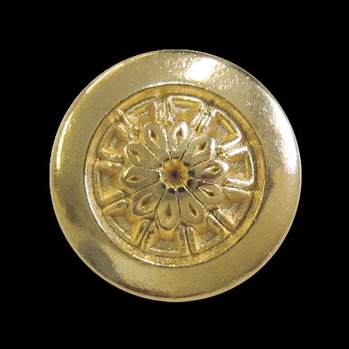 www.Knopfparadies.de - r296go - Reizende Ösenknöpfe aus Metall in Gold mit floralem Motiv