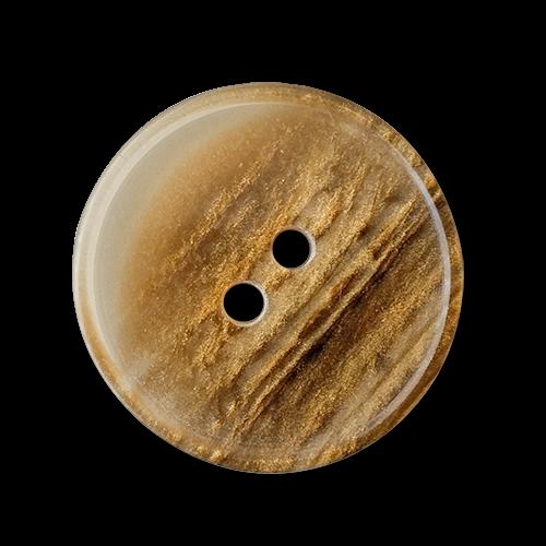 www.knopfparadies.de - 6038bg - Gold schimmernde, leichte Kunststoffknöpfe mit zwei Löchern