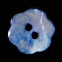 Blaue Perlmutterknöpfe in Blütenform
