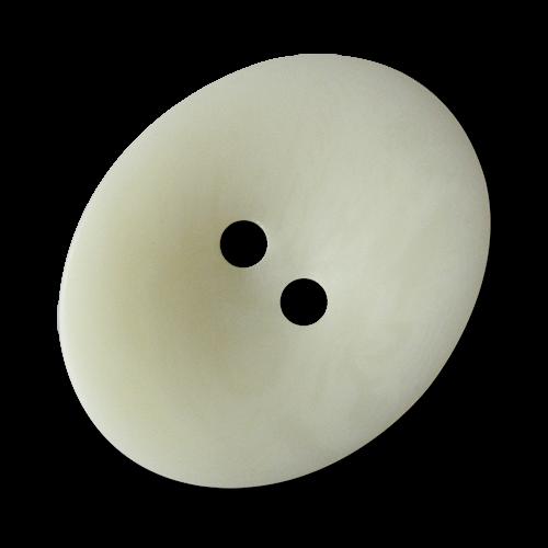 www.Knopfparadies.de - 5289we - Ovale weiß melierte Kunststoffknöpfe in Steinnuss Optik