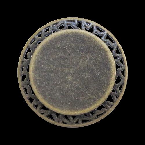www.Knopfparadies.de - 0446am - Eindrucksvolle Ösenknöpfe aus Metall mit Durchbruch in Altmessing