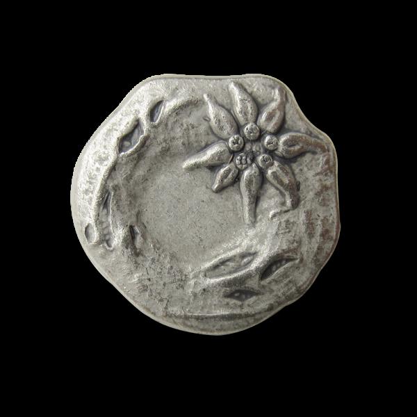 Hübscher unrunder Trachten Metall Knopf mit Edelweiß