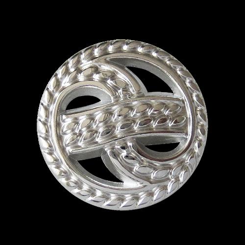 Attraktiver glänzend silberfarbener Metall Ösen Knopf mit Durchbruch Muster